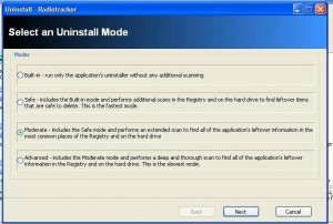 Revo Uninstaller : choosen Moderate uninstall Mode (default)