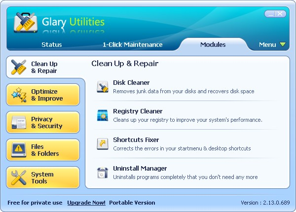 Glary Utilities main window