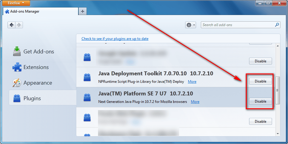 How to disable Java for Firefox, Chrome, Internet Explorer