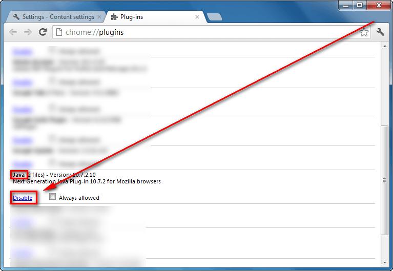 remove java plugin chrome