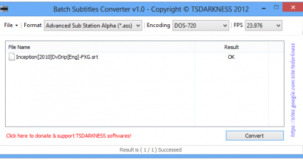 Batch Subtitles Converter v1.0 - Copyright © TSDARKNESS 2012