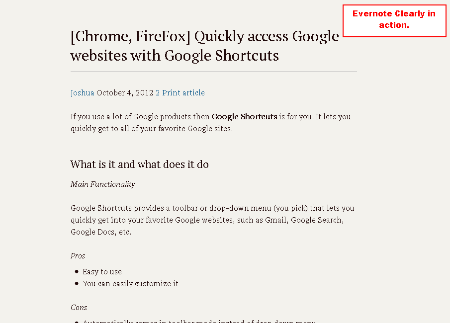 [Chrome, Firefox] Declutter webpages with Evernote Clearly