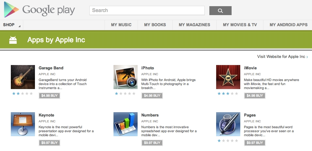 Fake Apple apps appear on Play Store, attempt to fool