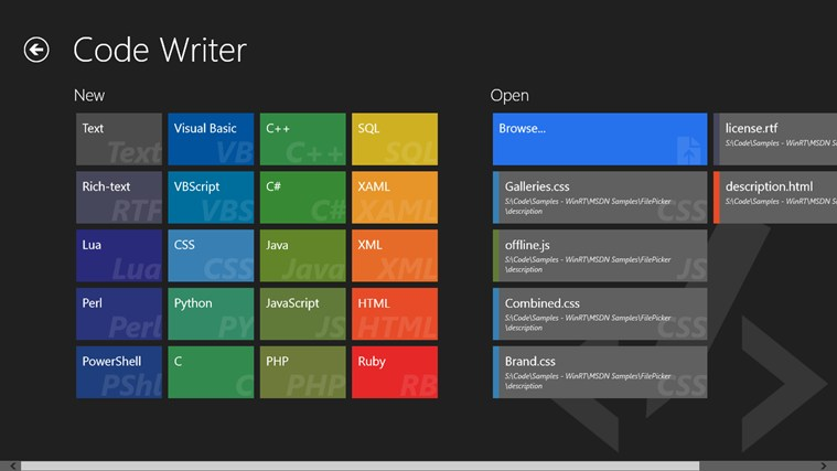 Windows 8] Code Writer makes writing and editing code easy