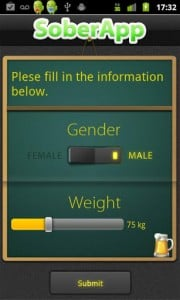 SoberApp Weight and Gender Entry