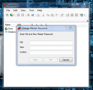 CarotDAV master password