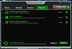 Startup Booster Restore Tab