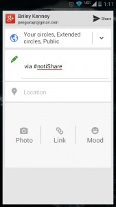 Google Plus sharing window