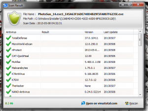 PhrozenSoft VirusTotal Uploader Scan Results Page