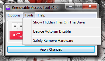 Windows] Disable read or write access for USB flash and external ... Ratool Tools Menu
