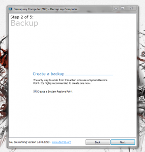 Decrap Step 2 create backup