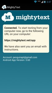 MightyText Connected on phone