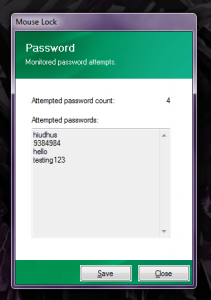 Mouse Lock passwords attempted