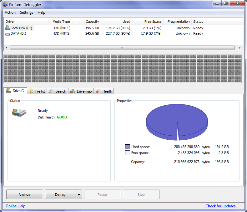 defraggler disk defrag pro