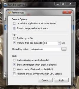 Task Blocker preferences