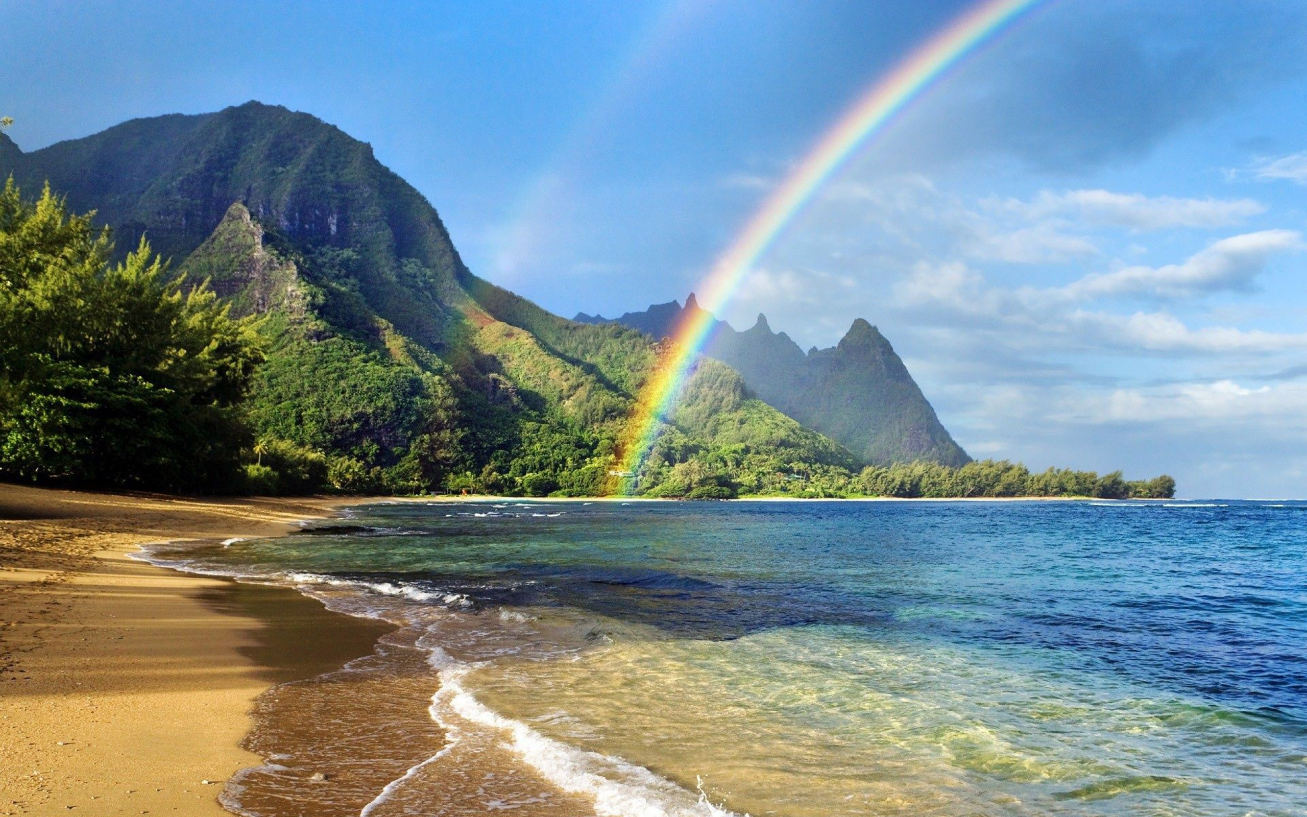 Rainbow Over Ocean Wallpaper