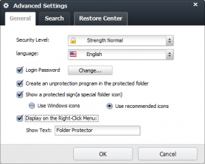 Folder Protector Advanced Settings