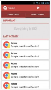 Krome recent notifications