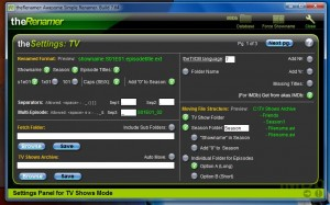 The Renamer TV settings