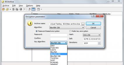 BCArchive Encryption Algorithms