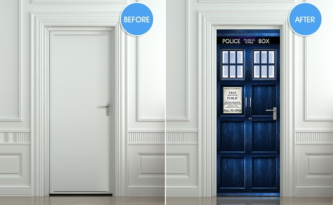 TARDIS_sticker & Doctor Who fan? Then you need this life-size TARDIS door sticker ...