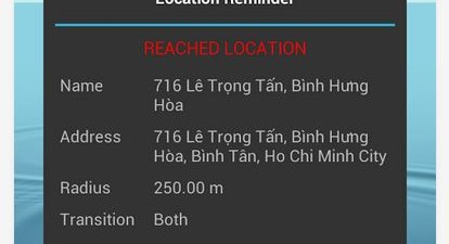 Location Reminder popup