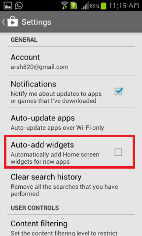 Disable auto app widgets