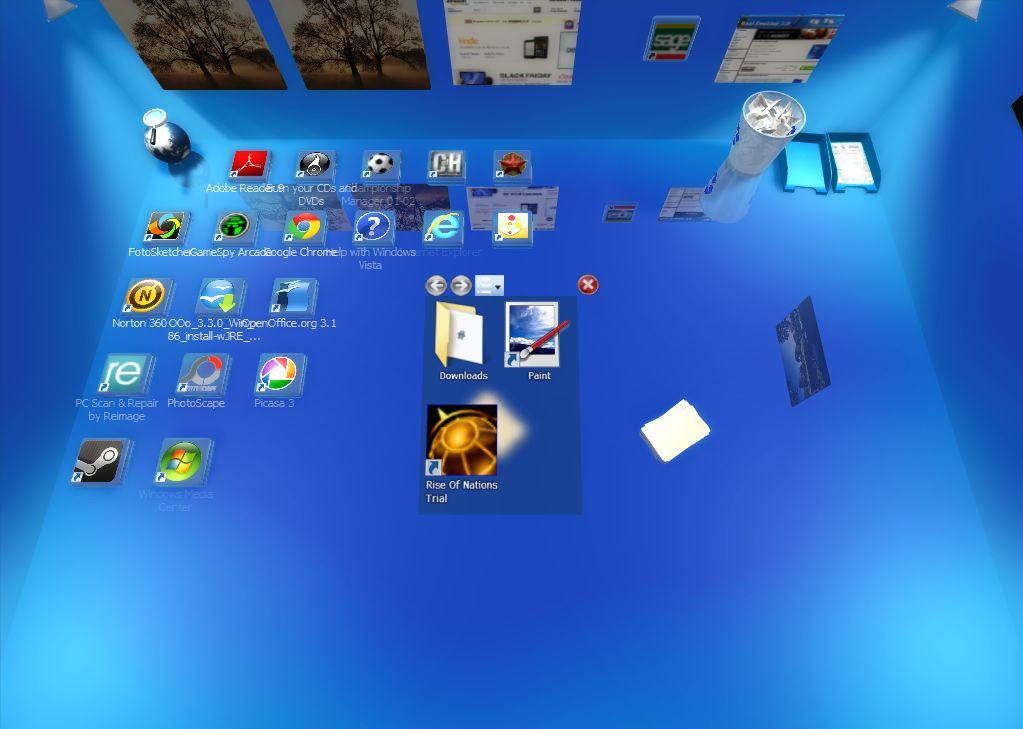 The icon pile can also be lifted and stacked in some of the filing trays included on the 3D desktop. Double left-click the pile to select one of its desktop ...