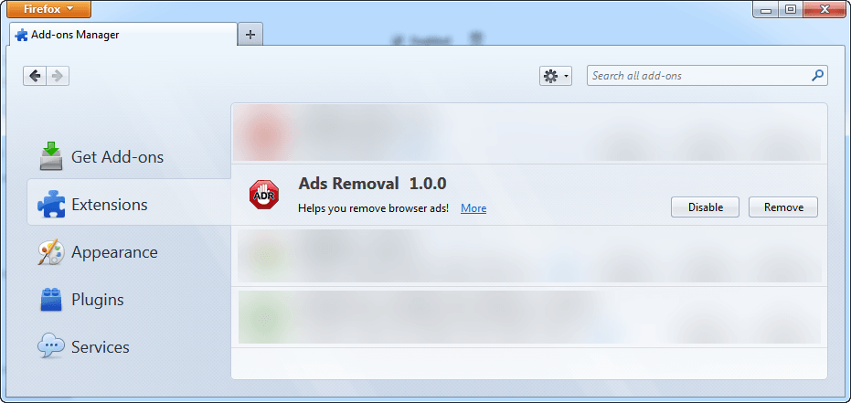 What is 'Ads Removal' Firefox add-on and Chrome extension