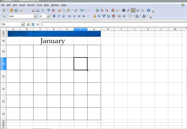 Calendar spreasheet 2