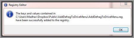 Defrag Reg Entry Added
