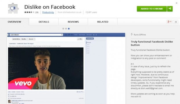 Dislike on FB