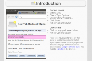 New Tab Redirect Welcome Page