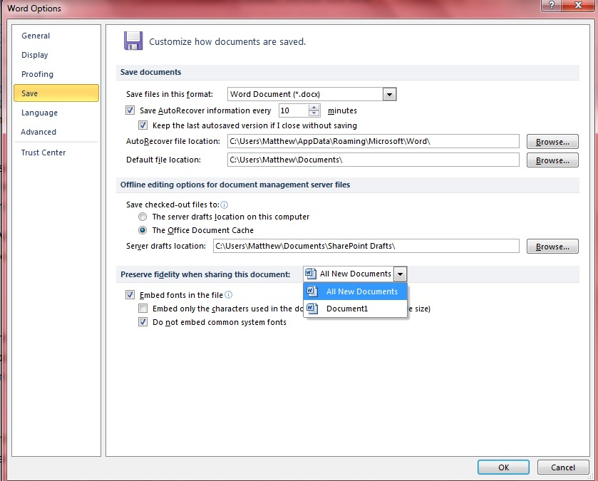 how to embed fonts in pdf from word 2013