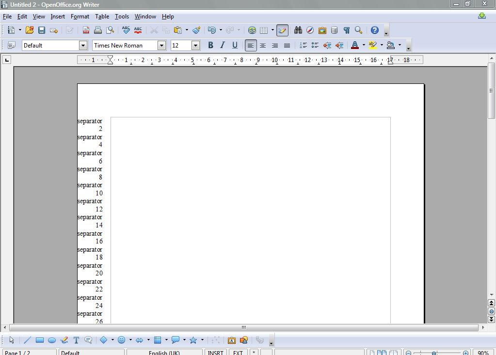 how to add page number openoffice