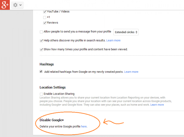 delete google plus account step c