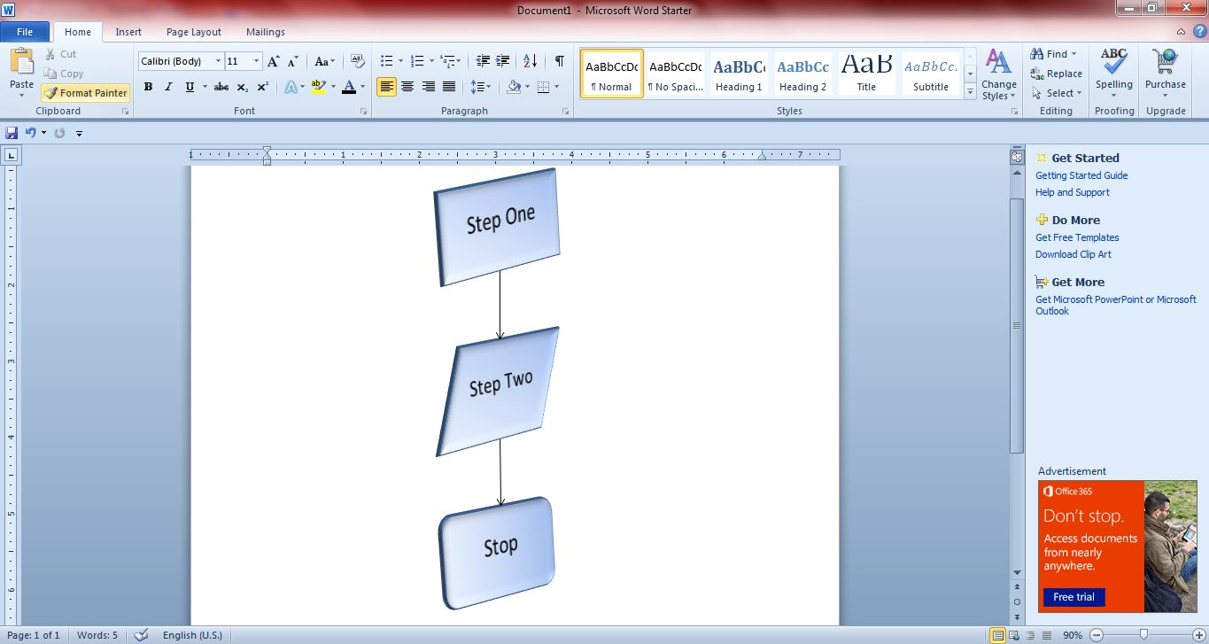 How to create flowcharts with microsoft word 2010 and 2013 guide flowchart5 geenschuldenfo Image collections