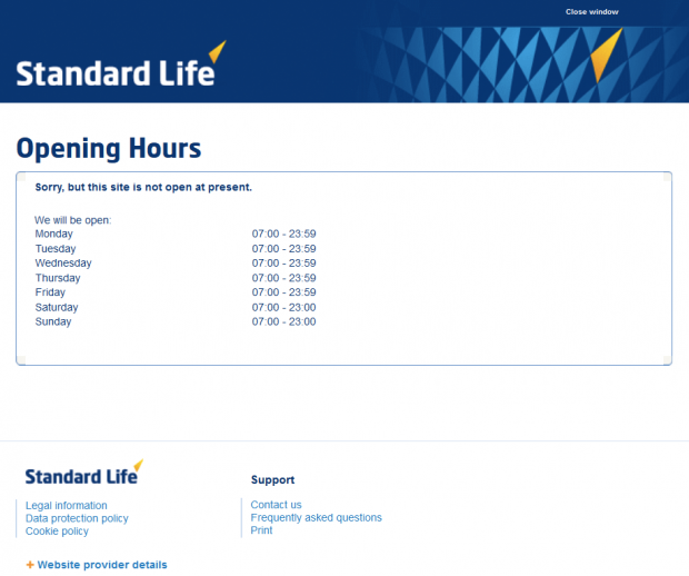 standard life operating hours