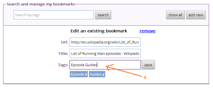 Add Tags to Bookmarks Step Five