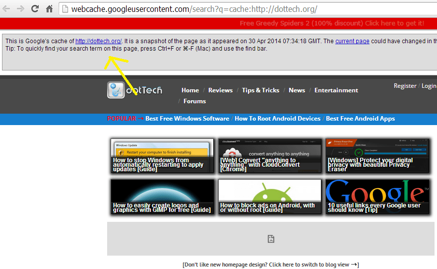 View cached page in new window