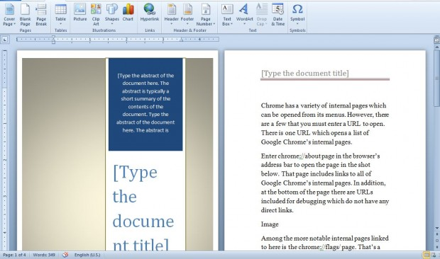 how to give page number in ms word 2010