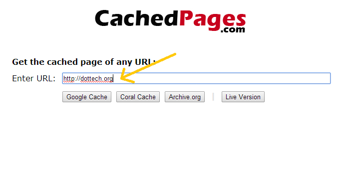go to cached pages homepage