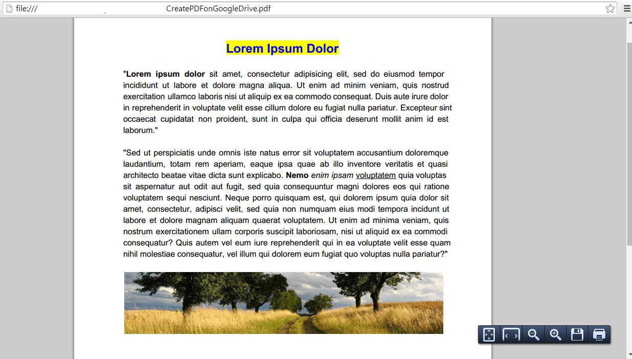 Create PDF on Google Drive c