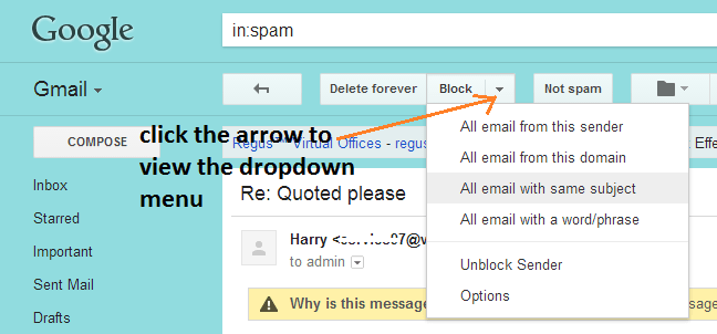 block sender on Gmail 2