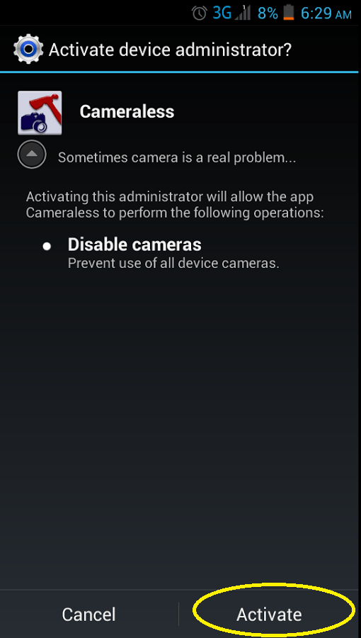 disable Android device camera b