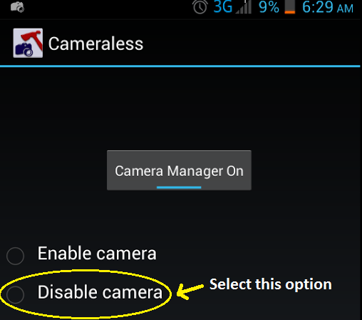 disable Android device camera c