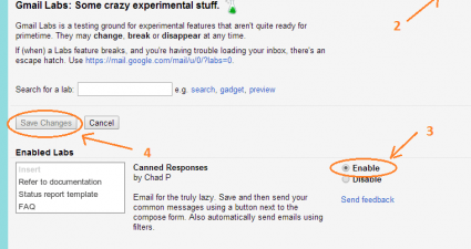 enable canned responses Gmail