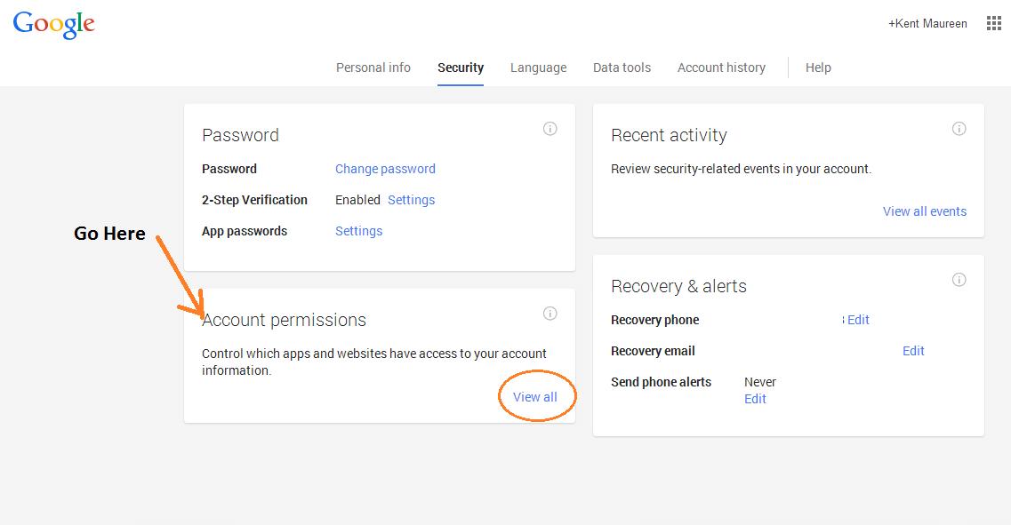 revoke app access Google account d