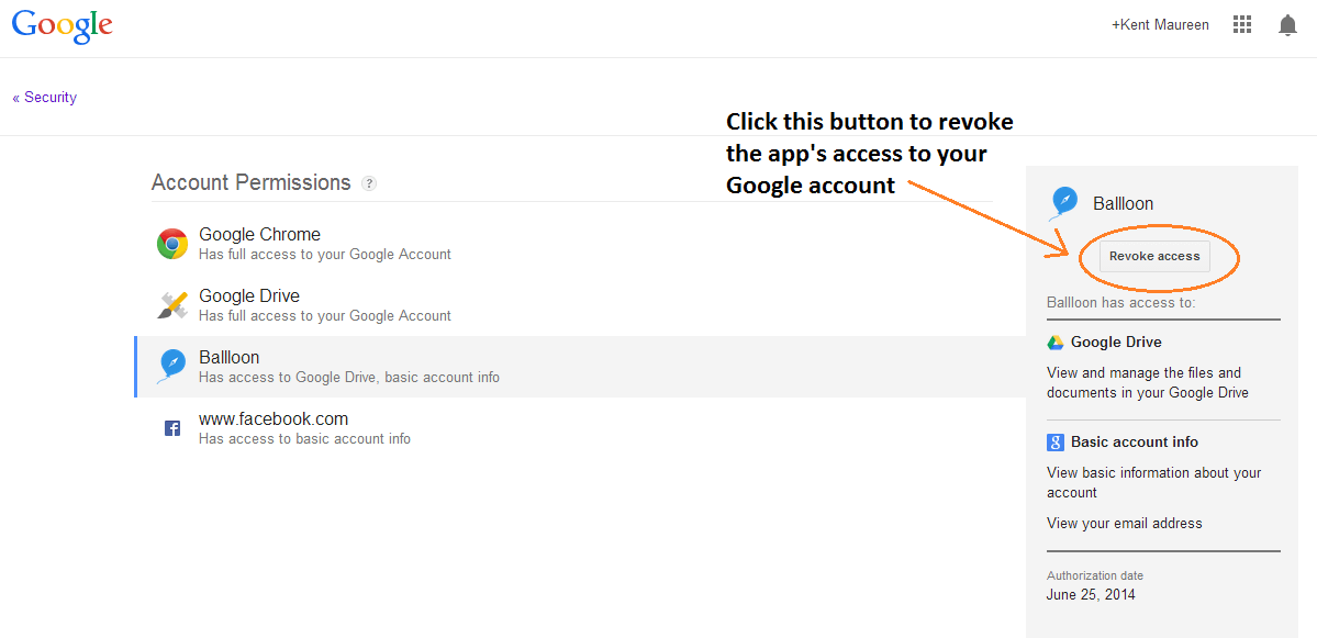 revoke app access Google account f