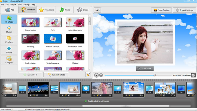 Make slideshows from photos videos and music easily